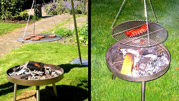 Hanggrill op houtskool en op gas tevens vuurkorf voor in